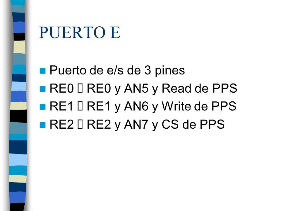 PUERTO E Puerto de e/s de 3 pines RE0 è RE0 y AN5 y Read de PPS
