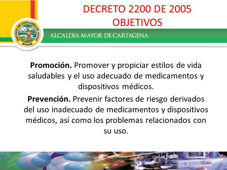 DECRETO 2200 DE 2005 OBJETIVOSPromoción. Promover y propiciar estilos de vida saludables y el uso adecuado de medicamentos y dispositivos médicos.