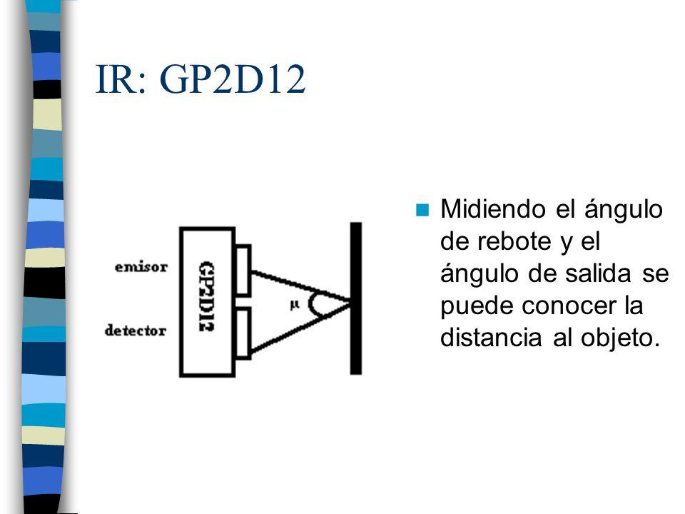 IR: GP2D12 Midiendo el ángulo de rebote y el ángulo de salida se puede conocer la distancia al objeto.