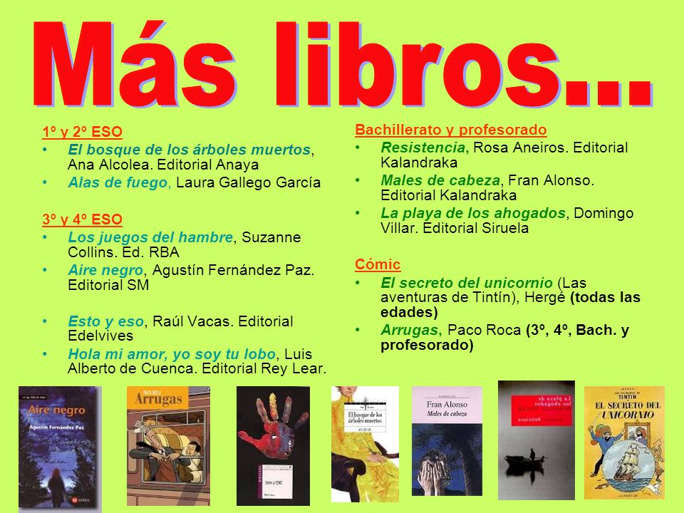 Más libros... 1º y 2º ESO Bachillerato y profesorado