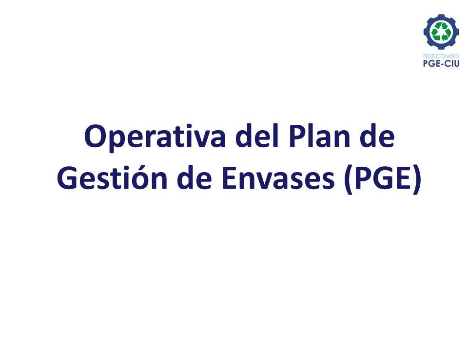 Operativa del Plan de Gestión de Envases (PGE)