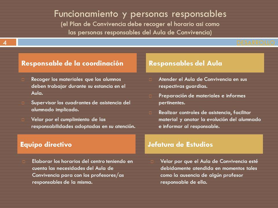 Funcionamiento y personas responsables (el Plan de Convivencia debe recoger el horario así como las personas responsables del Aula de Convivencia)