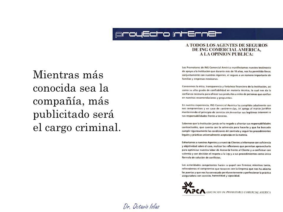 Mientras más conocida sea la compañía, más publicitado será el cargo criminal.