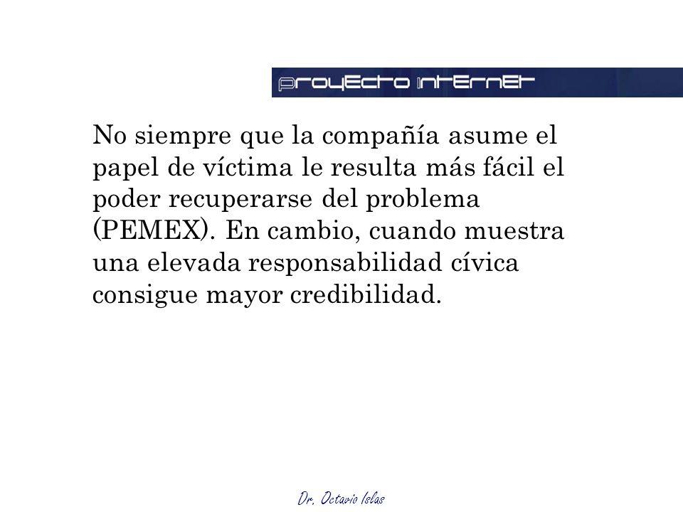 No siempre que la compañía asume el papel de víctima le resulta más fácil el poder recuperarse del problema (PEMEX).