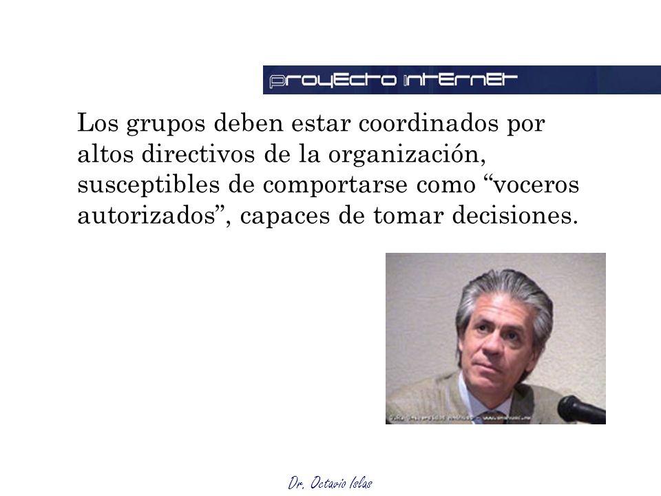 Los grupos deben estar coordinados por altos directivos de la organización, susceptibles de comportarse como voceros autorizados , capaces de tomar decisiones.