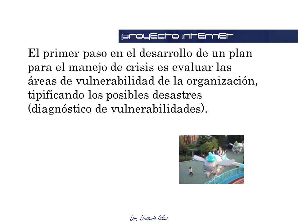 El primer paso en el desarrollo de un plan para el manejo de crisis es evaluar las áreas de vulnerabilidad de la organización, tipificando los posibles desastres (diagnóstico de vulnerabilidades).