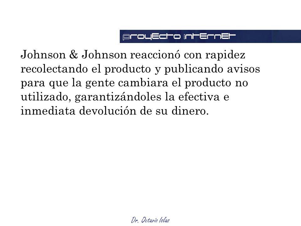 Johnson & Johnson reaccionó con rapidez recolectando el producto y publicando avisos para que la gente cambiara el producto no utilizado, garantizándoles la efectiva e inmediata devolución de su dinero.