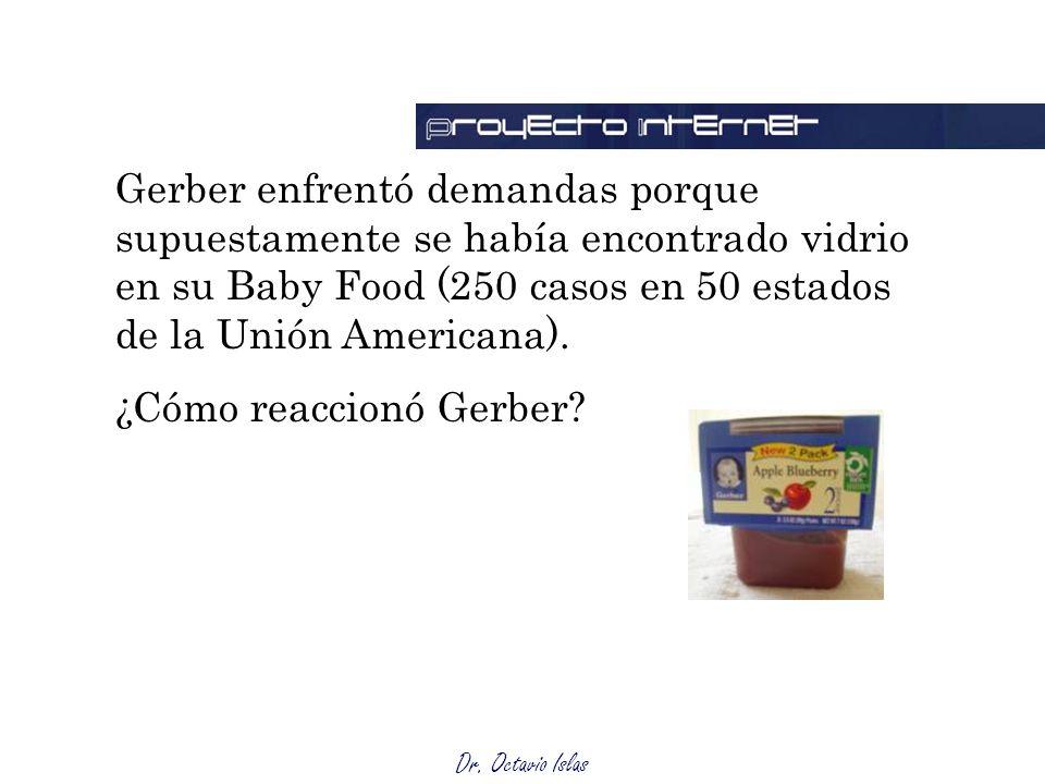 Gerber enfrentó demandas porque supuestamente se había encontrado vidrio en su Baby Food (250 casos en 50 estados de la Unión Americana).