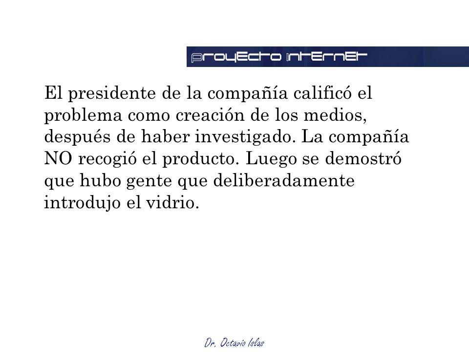 El presidente de la compañía calificó el problema como creación de los medios, después de haber investigado.