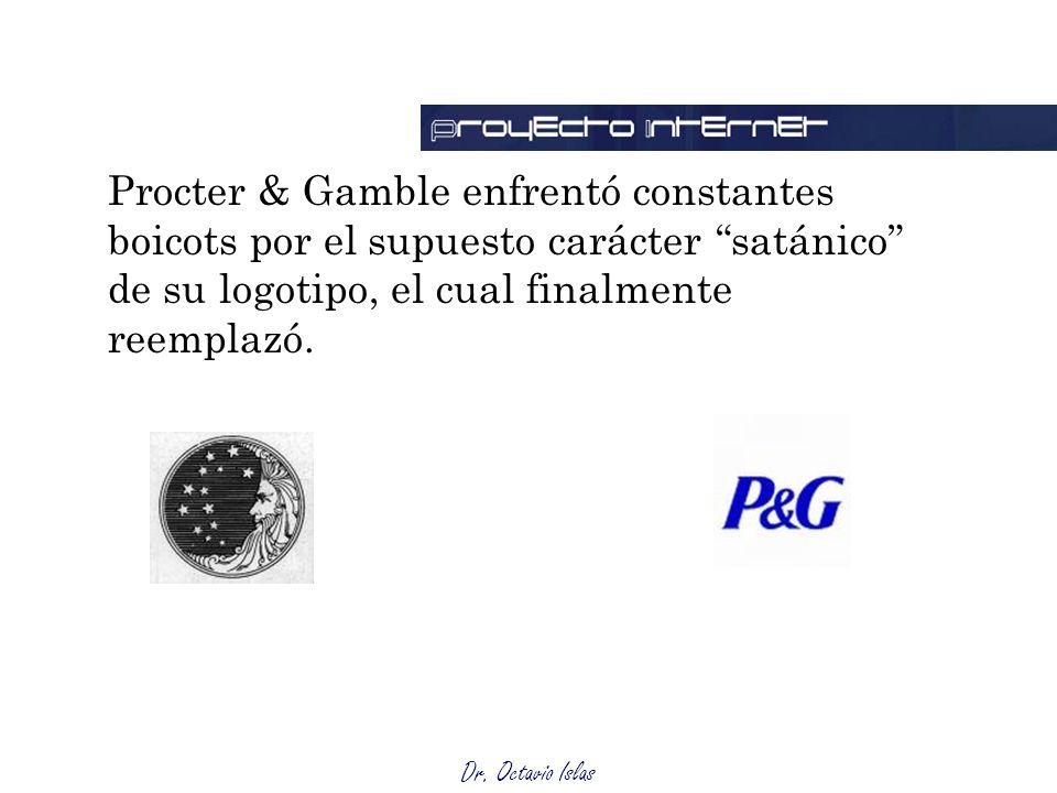 Procter & Gamble enfrentó constantes boicots por el supuesto carácter satánico de su logotipo, el cual finalmente reemplazó.