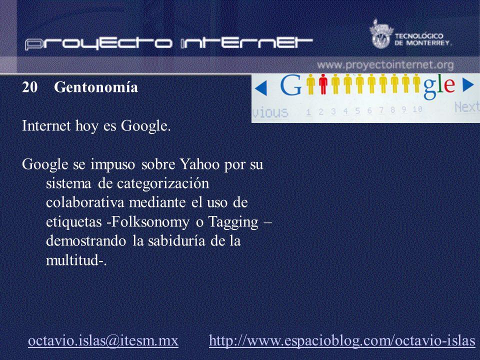 Gentonomía Internet hoy es Google.
