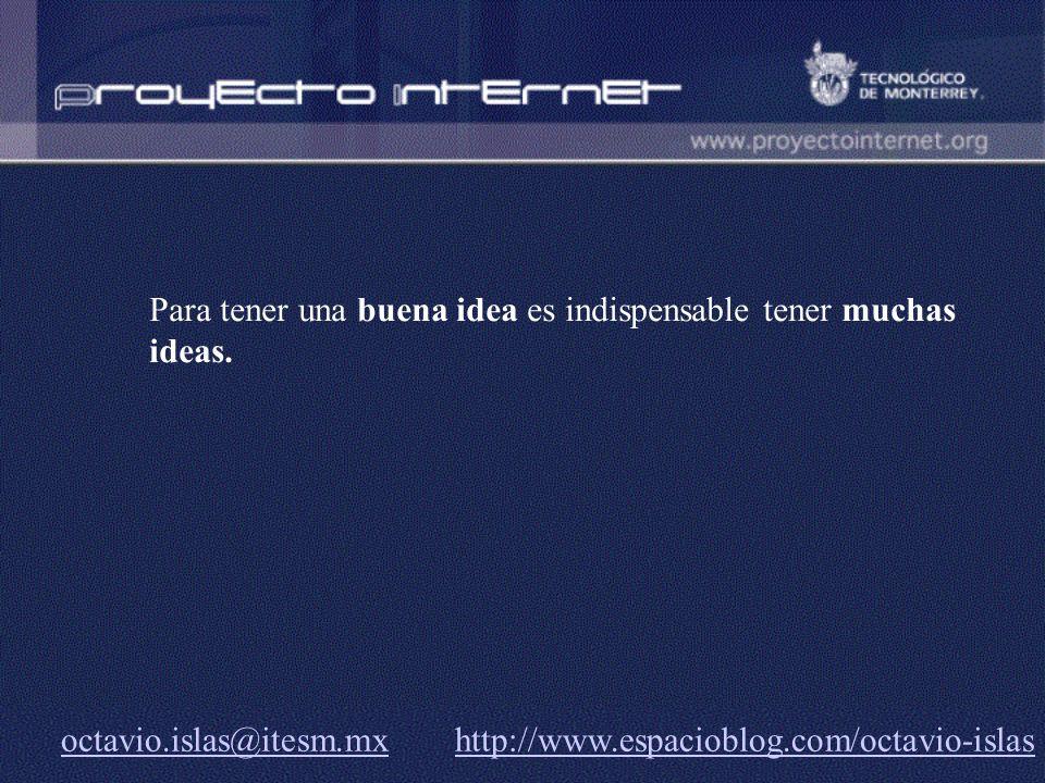 Para tener una buena idea es indispensable tener muchas ideas.
