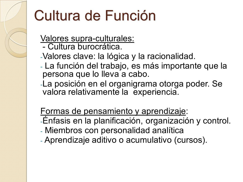 Cultura de Función Valores supra-culturales: - Cultura burocrática.