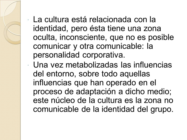 La cultura está relacionada con la identidad, pero ésta tiene una zona oculta, inconsciente, que no es posible comunicar y otra comunicable: la personalidad corporativa.