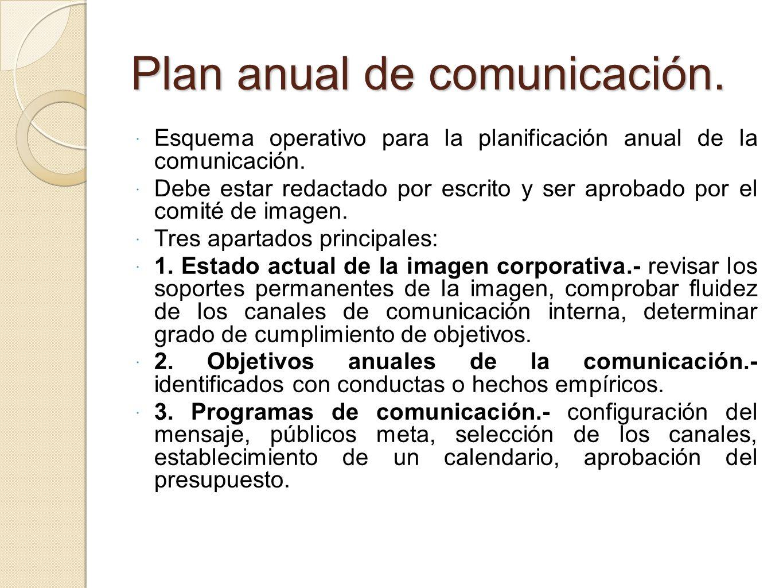 Plan anual de comunicación.
