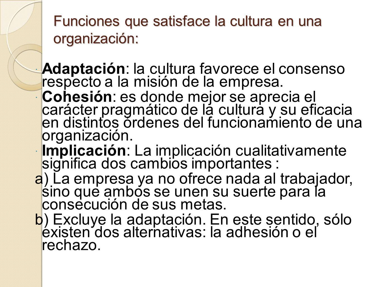 Funciones que satisface la cultura en una organización: