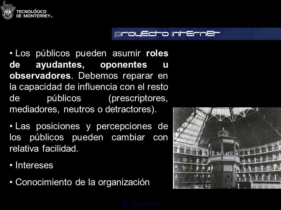 Los públicos pueden asumir roles de ayudantes, oponentes u observadores. Debemos reparar en la capacidad de influencia con el resto de públicos (prescriptores, mediadores, neutros o detractores).