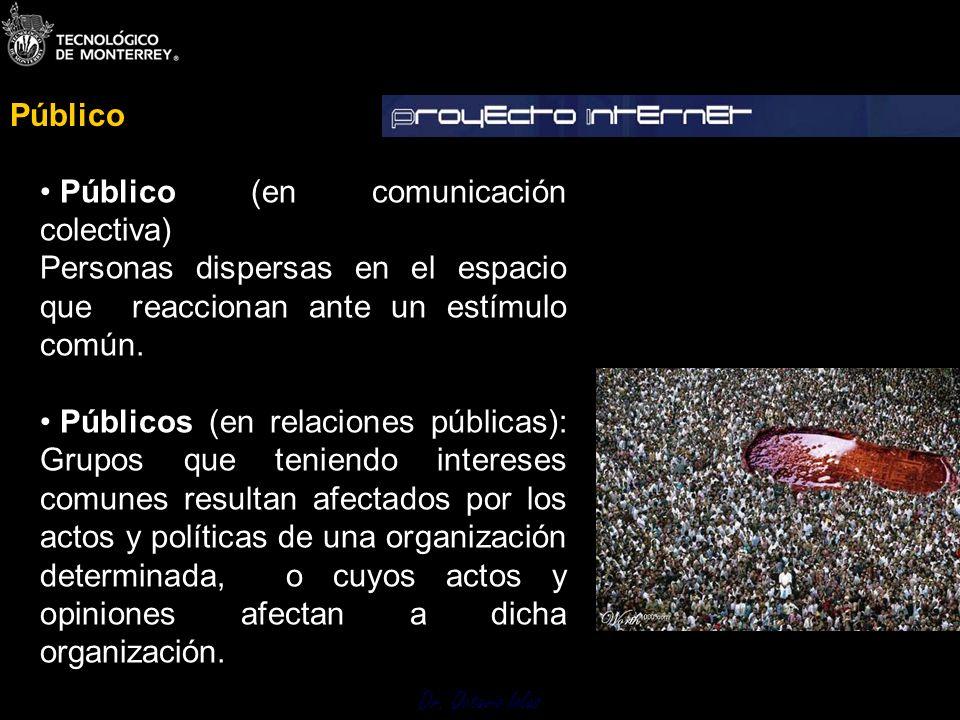 Público Público (en comunicación colectiva) Personas dispersas en el espacio que reaccionan ante un estímulo común.