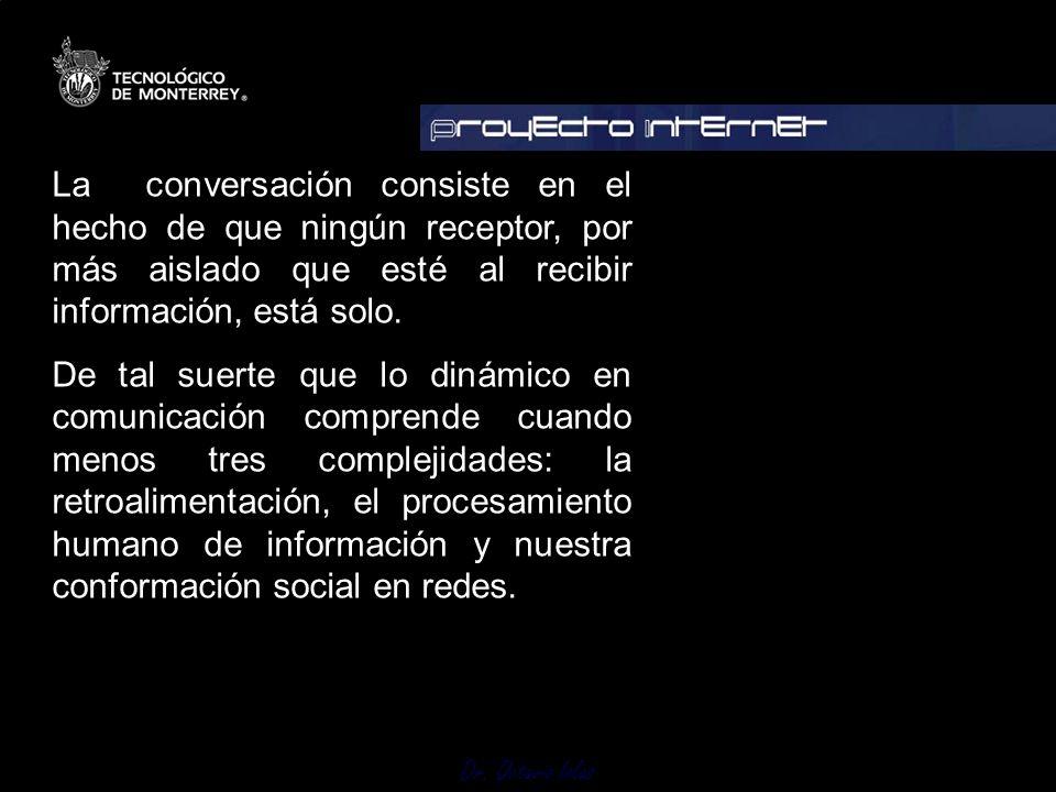 La conversación consiste en el hecho de que ningún receptor, por más aislado que esté al recibir información, está solo.