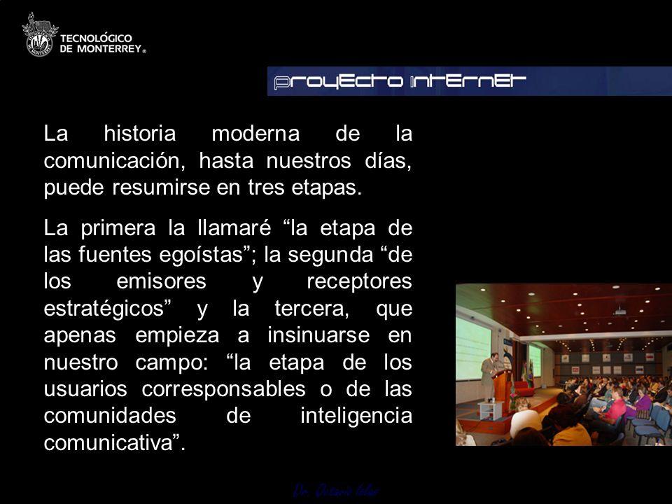 La historia moderna de la comunicación, hasta nuestros días, puede resumirse en tres etapas.