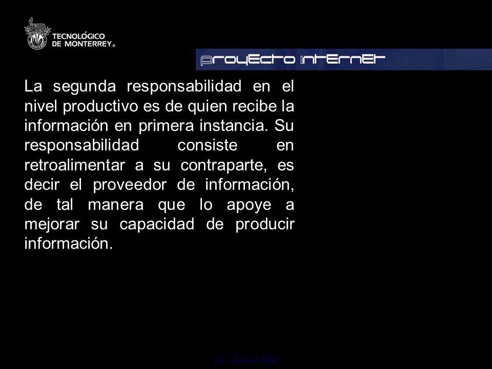 La segunda responsabilidad en el nivel productivo es de quien recibe la información en primera instancia.