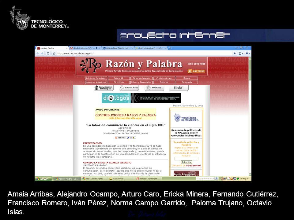 Amaia Arribas, Alejandro Ocampo, Arturo Caro, Ericka Minera, Fernando Gutiérrez, Francisco Romero, Iván Pérez, Norma Campo Garrido, Paloma Trujano, Octavio Islas.