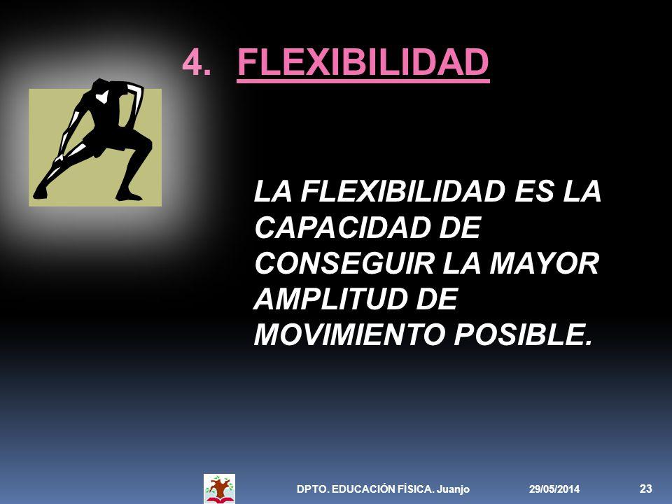 FLEXIBILIDAD LA FLEXIBILIDAD ES LA CAPACIDAD DE CONSEGUIR LA MAYOR AMPLITUD DE MOVIMIENTO POSIBLE. DPTO. EDUCACIÓN FÍSICA. Juanjo.