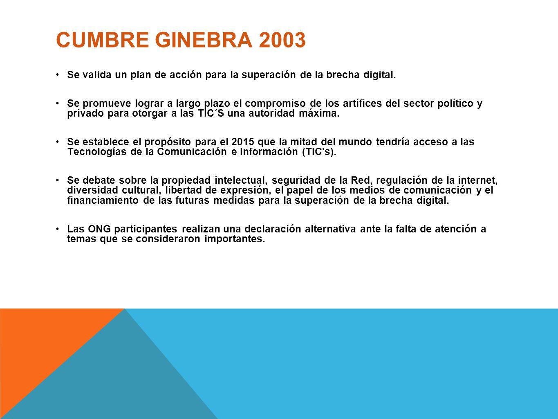 CUMBRE GINEBRA 2003 Se valida un plan de acción para la superación de la brecha digital.