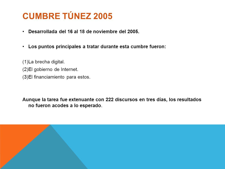 CUMBRE TÚNEZ 2005 Desarrollada del 16 al 18 de noviembre del 2005.