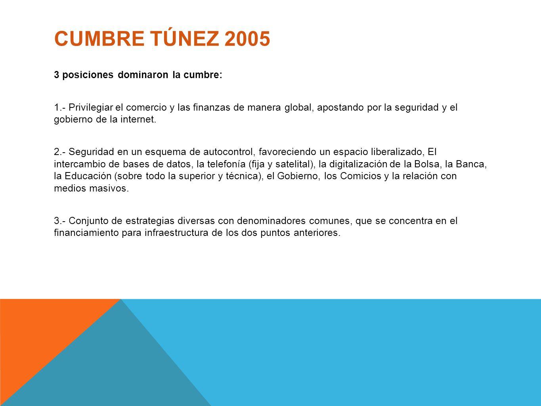 CUMBRE TÚNEZ 2005 3 posiciones dominaron la cumbre: