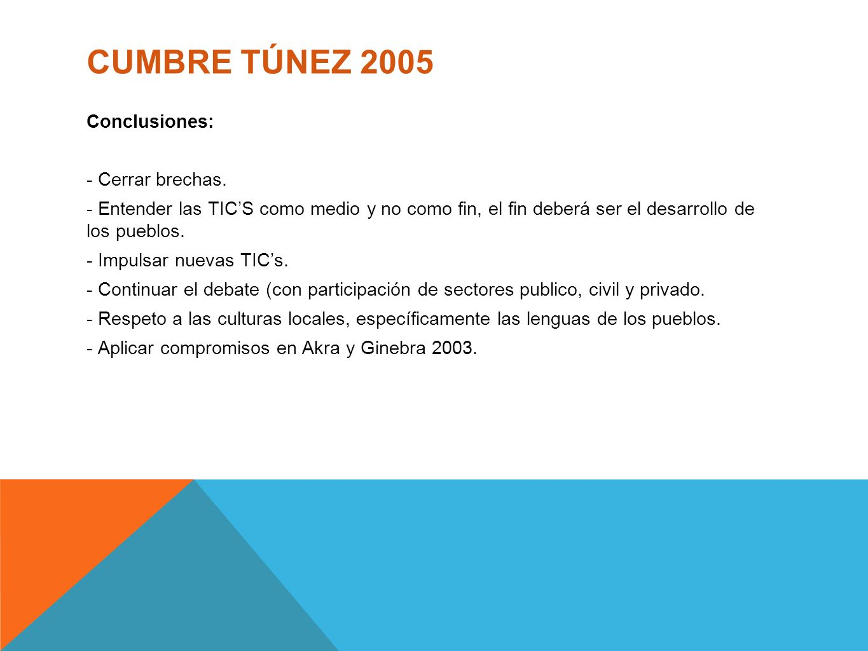 CUMBRE TÚNEZ 2005 Conclusiones: - Cerrar brechas.