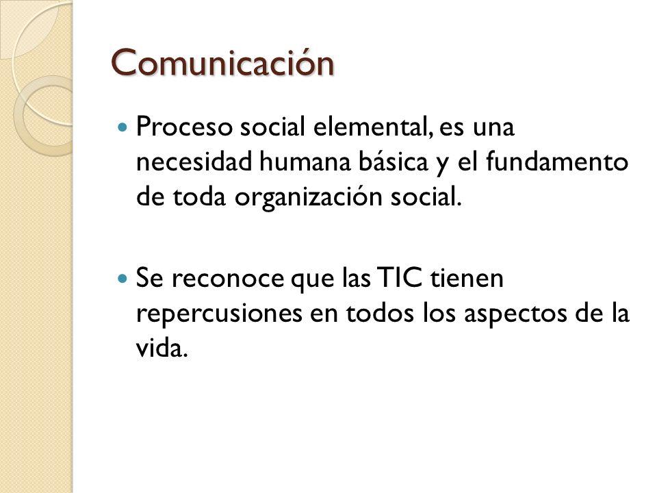 Comunicación Proceso social elemental, es una necesidad humana básica y el fundamento de toda organización social.