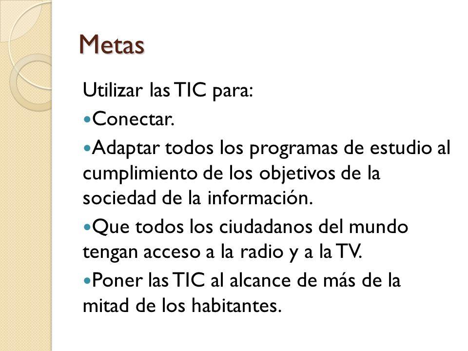 Metas Utilizar las TIC para: Conectar.