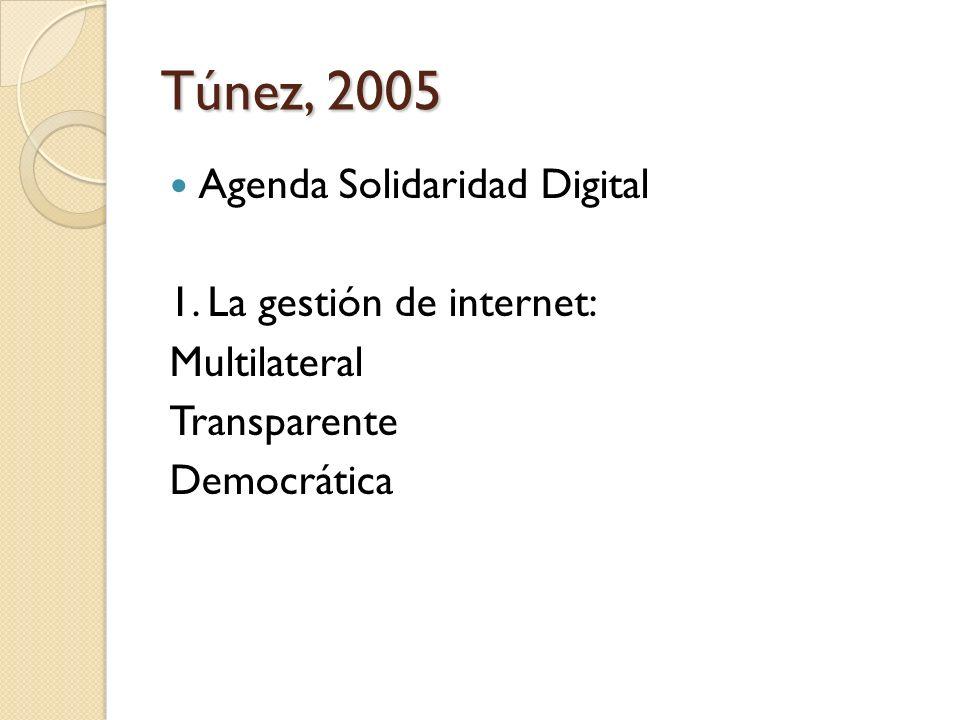 Túnez, 2005 Agenda Solidaridad Digital 1. La gestión de internet: