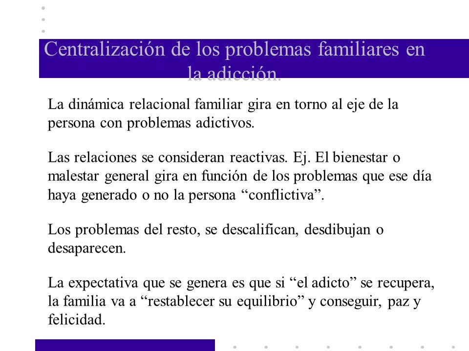 Centralización de los problemas familiares en la adicción.