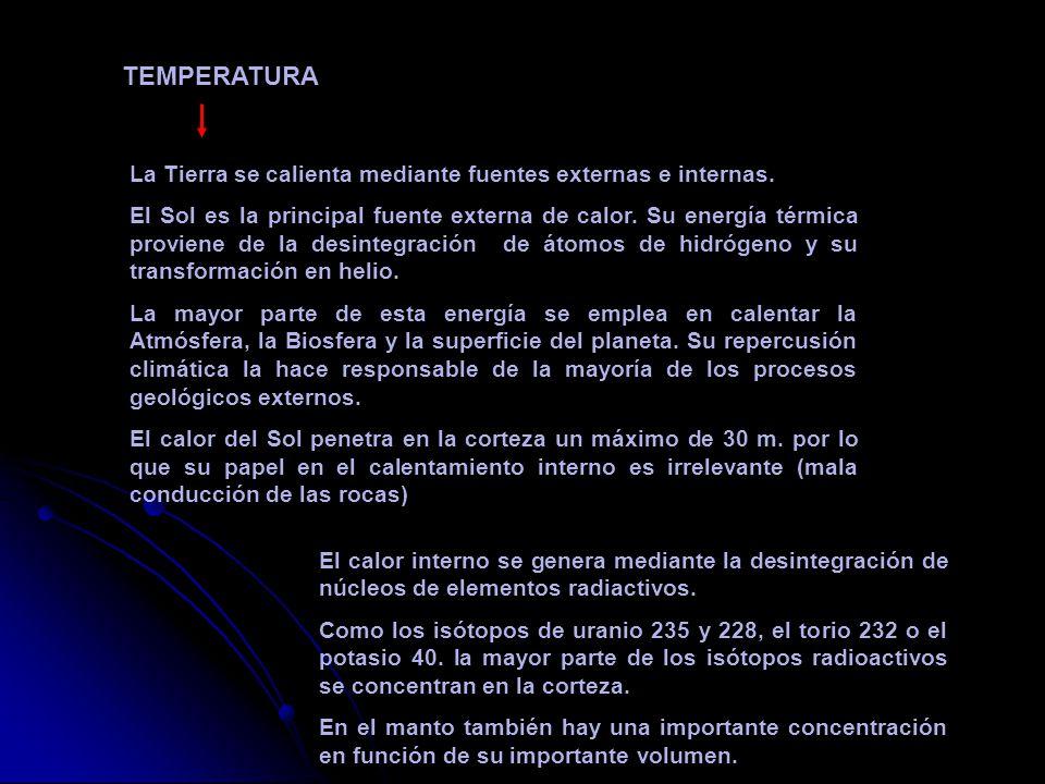 TEMPERATURA La Tierra se calienta mediante fuentes externas e internas.