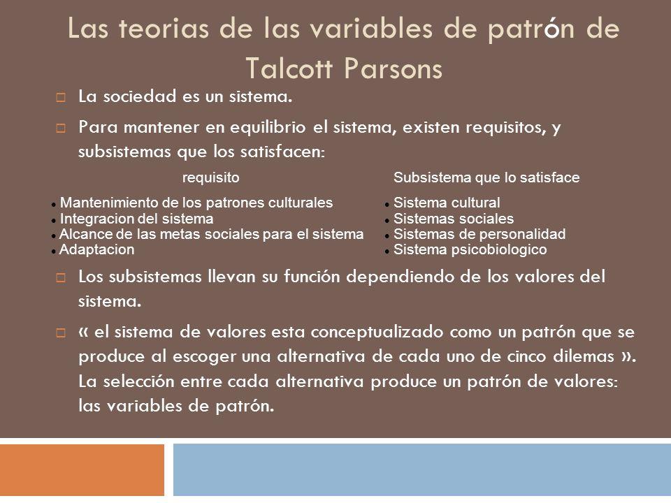 Las teorias de las variables de patrón de Talcott Parsons