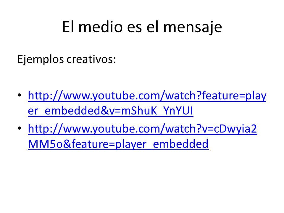 El medio es el mensaje Ejemplos creativos: