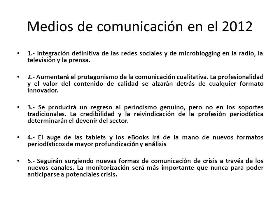Medios de comunicación en el 2012