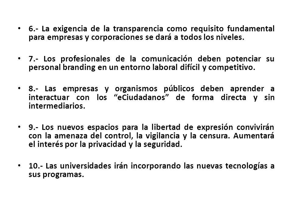 6.- La exigencia de la transparencia como requisito fundamental para empresas y corporaciones se dará a todos los niveles.