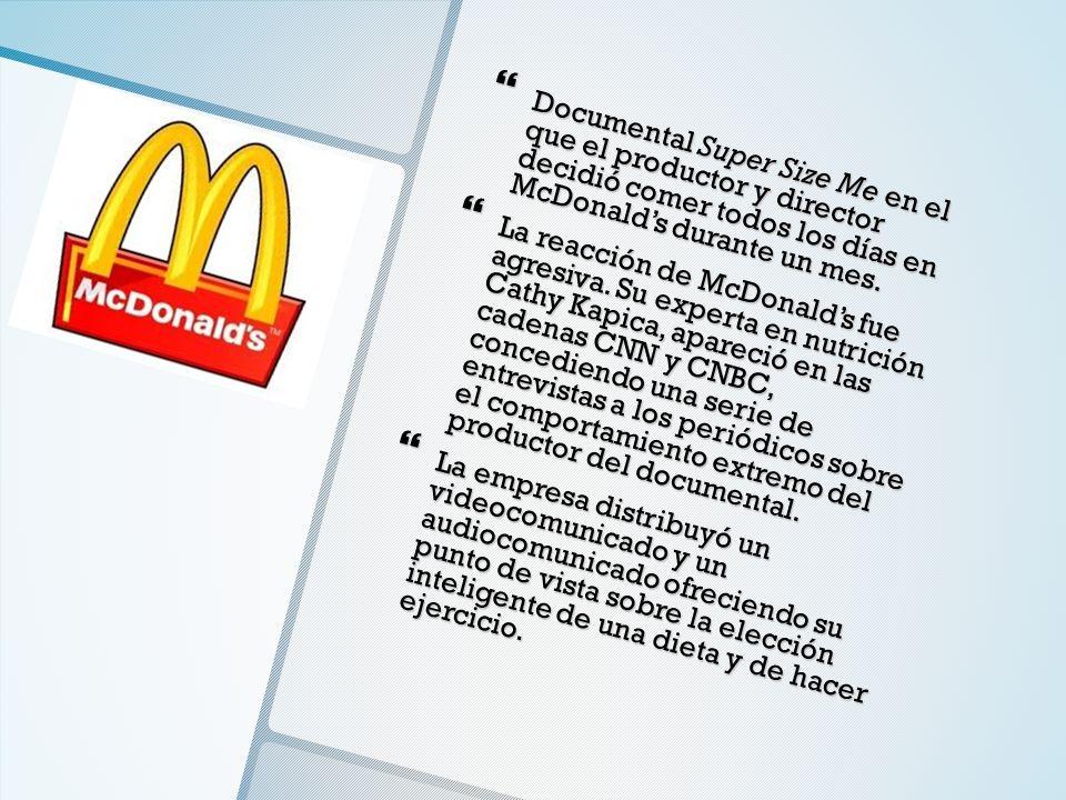 Documental Super Size Me en el que el productor y director decidió comer todos los días en McDonald's durante un mes.