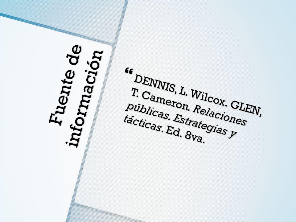 DENNIS, L. Wilcox. GLEN, T. Cameron. Relaciones públicas