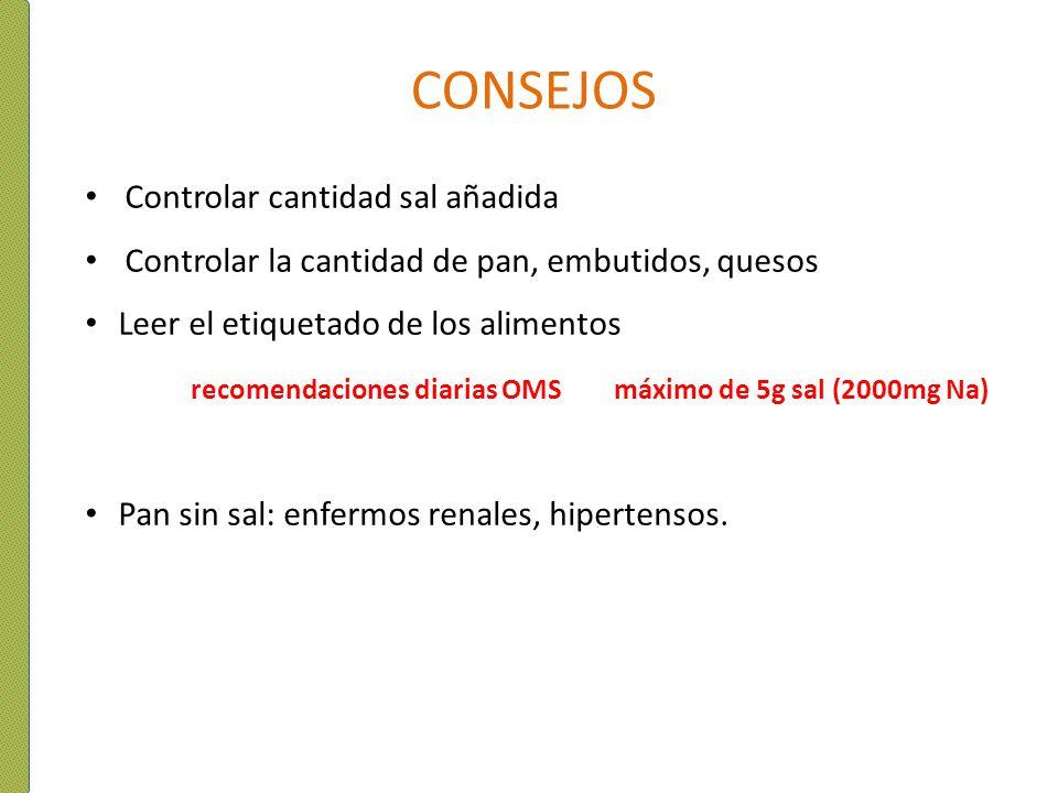 CONSEJOS Controlar cantidad sal añadida