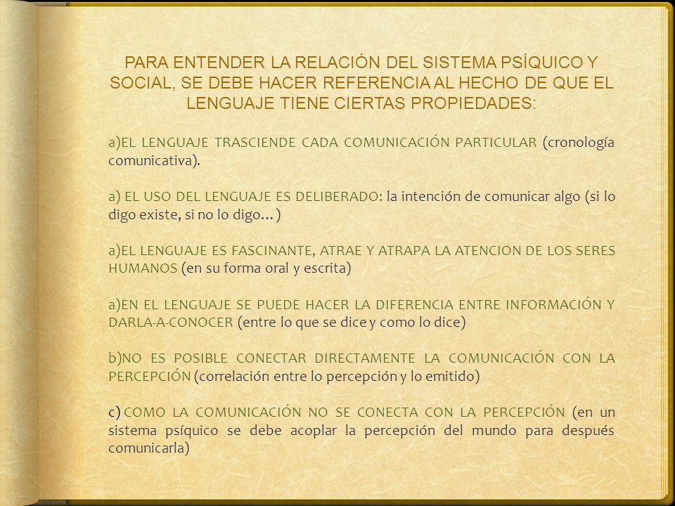 PARA ENTENDER LA RELACIÓN DEL SISTEMA PSÍQUICO Y SOCIAL, SE DEBE HACER REFERENCIA AL HECHO DE QUE EL LENGUAJE TIENE CIERTAS PROPIEDADES: