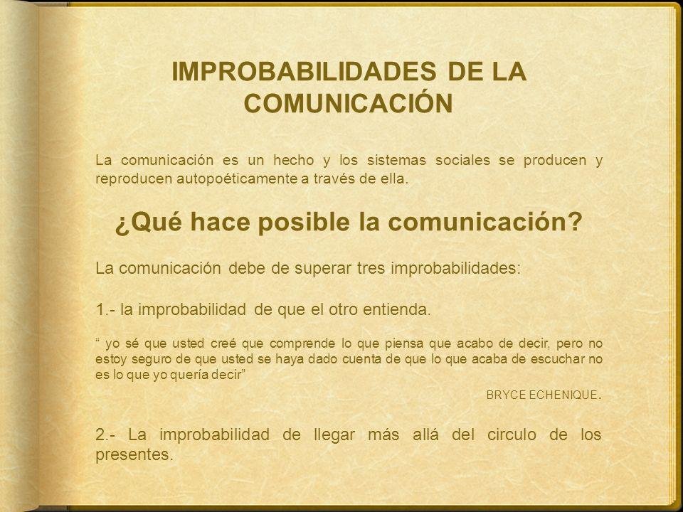 IMPROBABILIDADES DE LA COMUNICACIÓN ¿Qué hace posible la comunicación