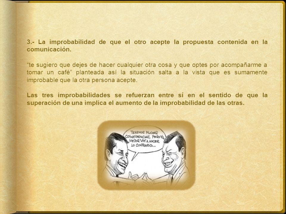 3.- La improbabilidad de que el otro acepte la propuesta contenida en la comunicación.