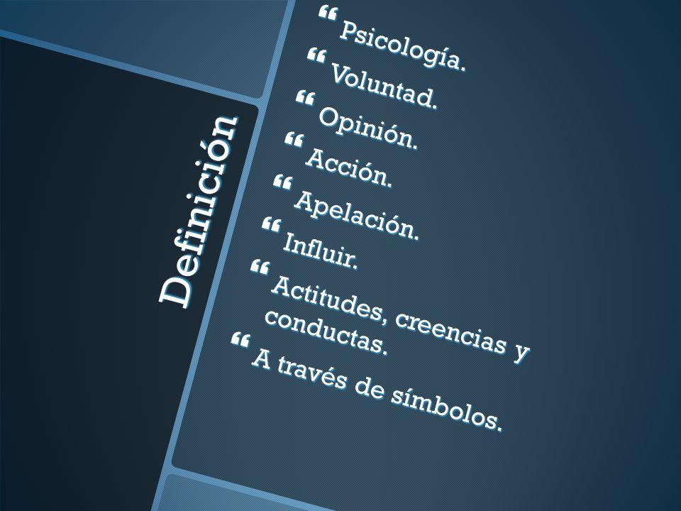 Definición Psicología. Voluntad. Opinión. Acción. Apelación. Influir.