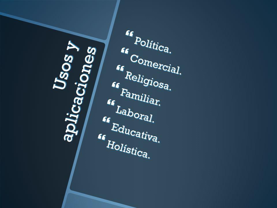 Usos y aplicaciones Política. Comercial. Religiosa. Familiar. Laboral.