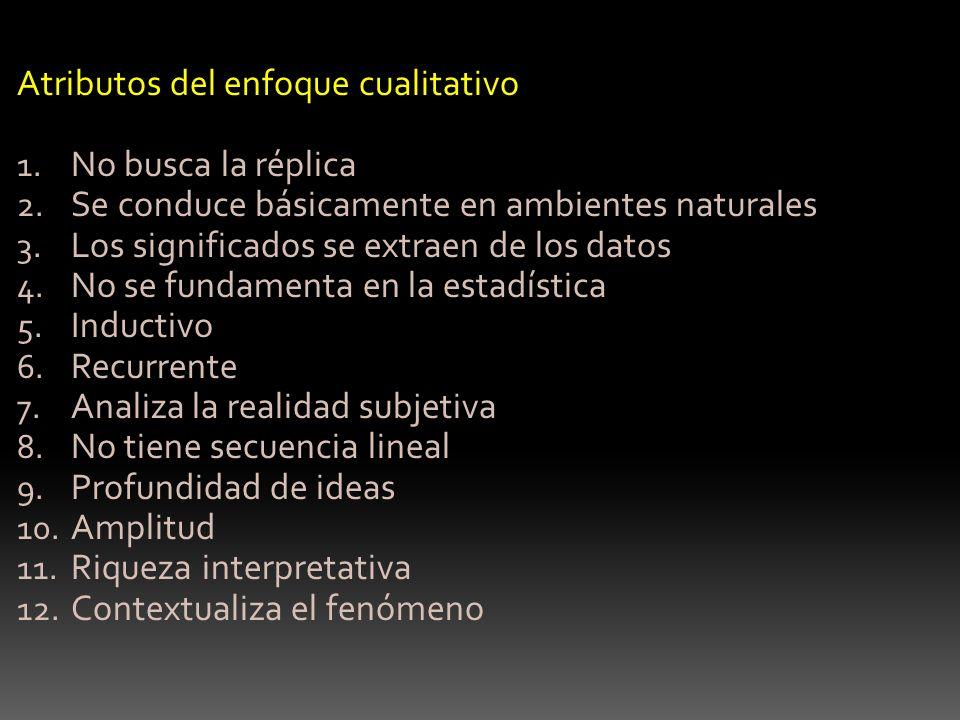 Atributos del enfoque cualitativo No busca la réplica
