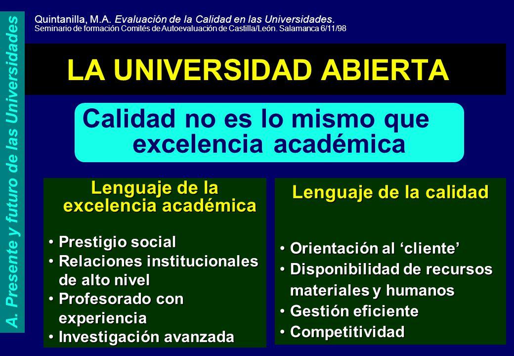 A. Presente y futuro de las Universidades
